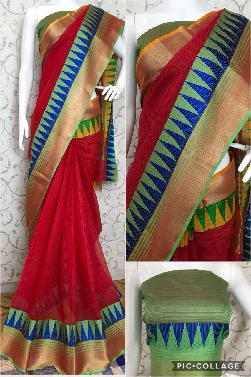 Women's Elegant Parrot Cotton Kota Doriya Work Regular Saree