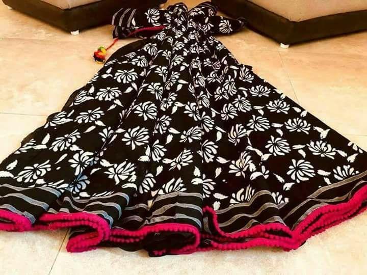 Elegant Black With Pink Border Cotton Printed Regular Sarees