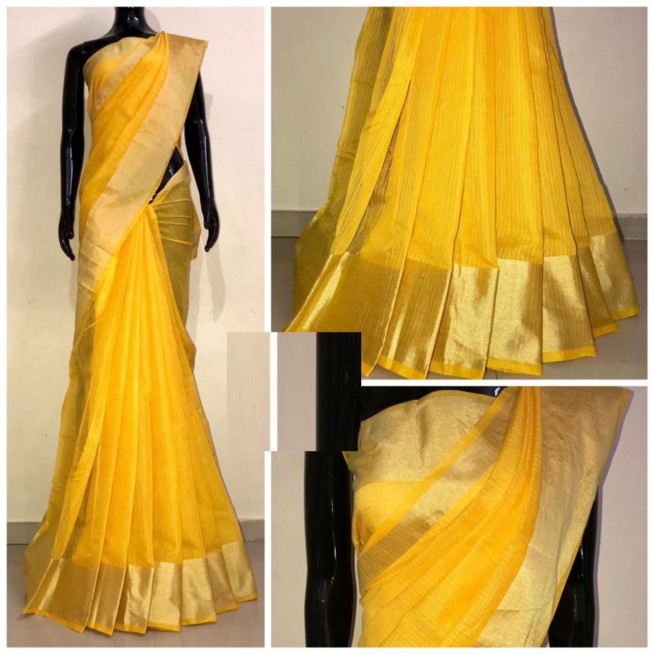 Chanderi Yellow Satin Silk Printed Regular Saree