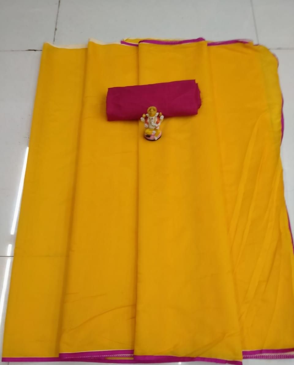 Women's Simple Modal Yellow Chanderi Solid With Lace Border Saree