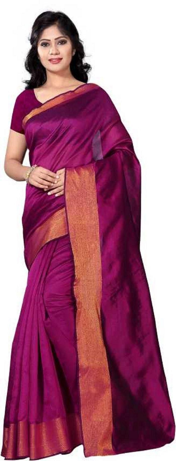 Unique Purpal Poly Cotton Solid With Border Saree