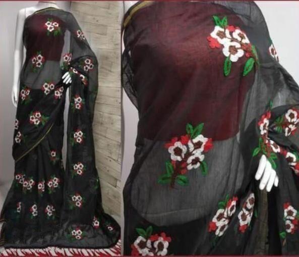 Designer Black Chanderi Cotton Embroidery Work Regular Saree
