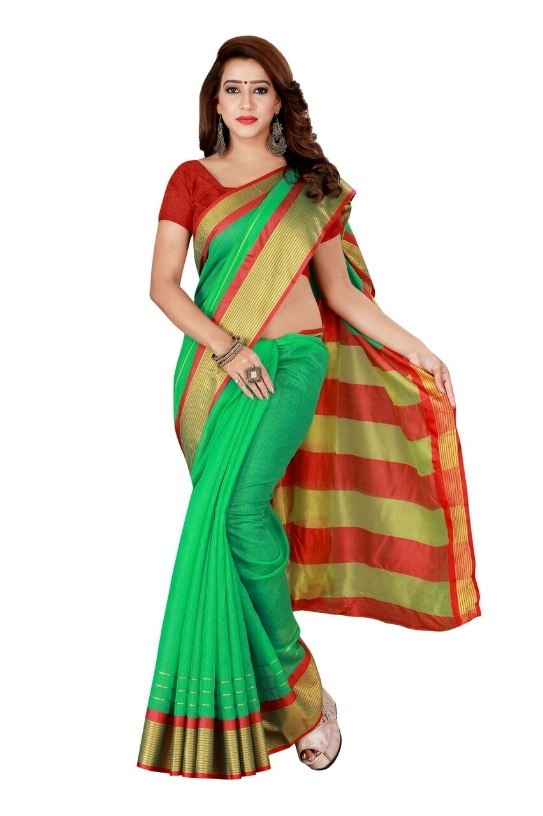 Glamorous Parrot Cotton Blend Solid With Border Regular Saree