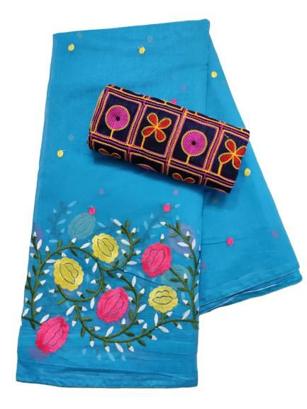 Trendy Sky Blue Chanderi Cotton Embroidered Saree