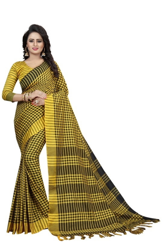 Women's Yellow & Black Cotton Silk Saree With Blouse Piece