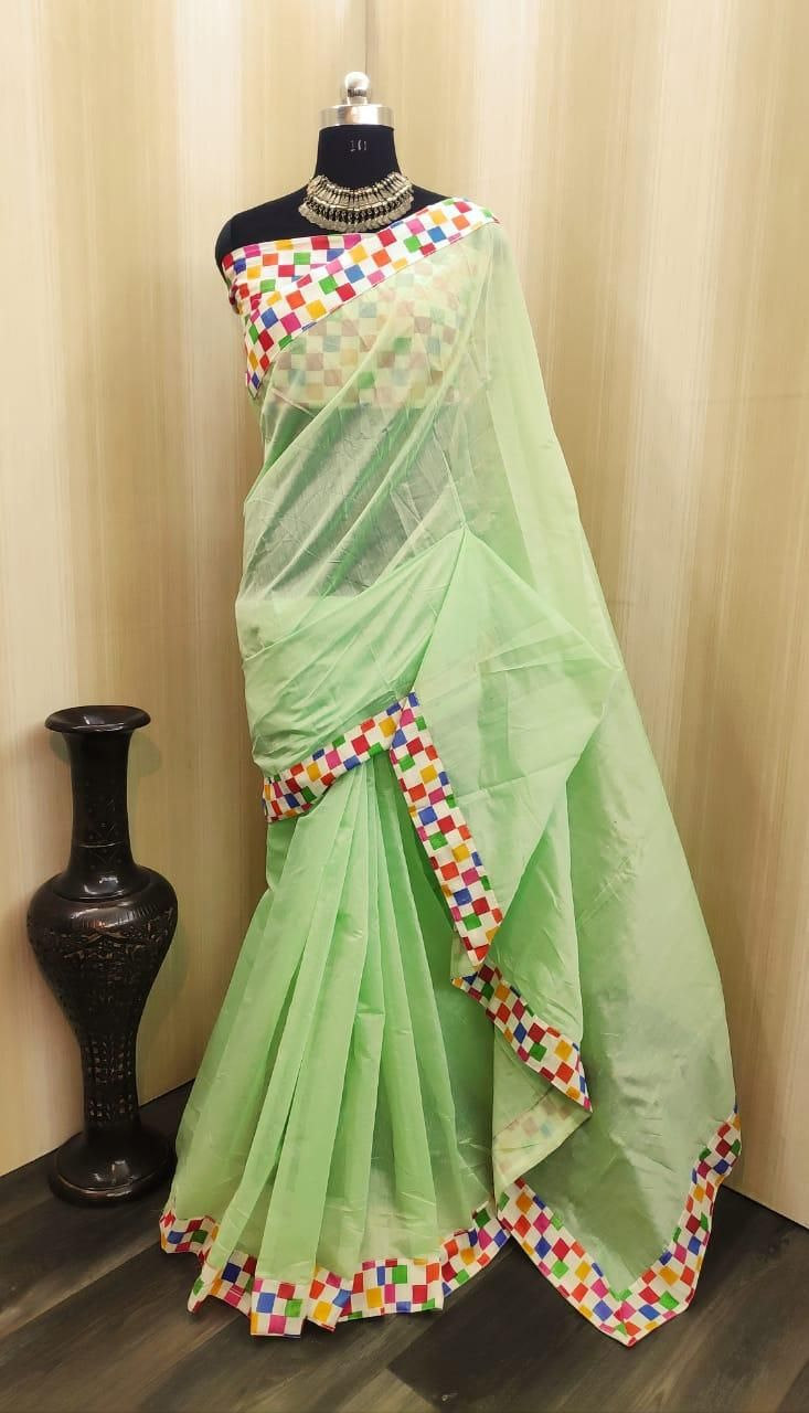 Lady's Special Green Chanderi Cotton Solid With Border Saree