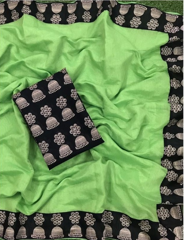 New Women's Special Green Chanderi Lace Border Regular Saree