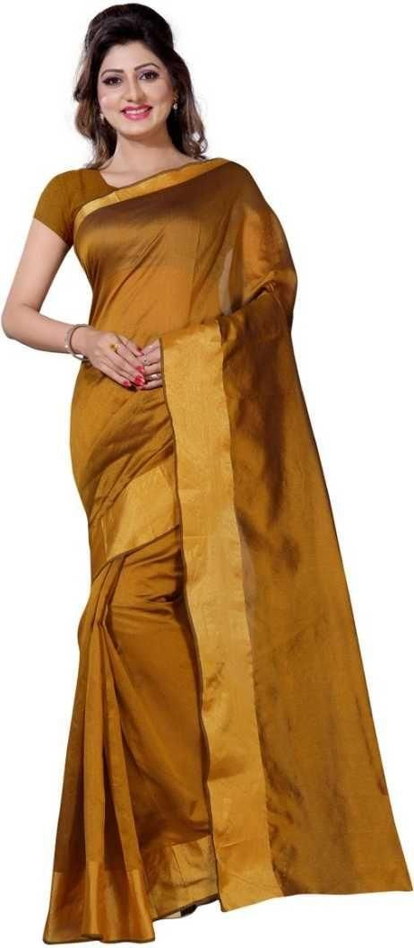 Unique Yellow Poly Cotton Solid With Border Saree