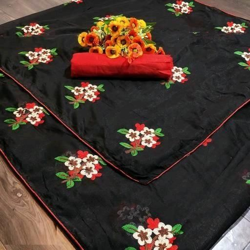 Simple Black Chanderi Cotton Embroidery Work Regular Saree
