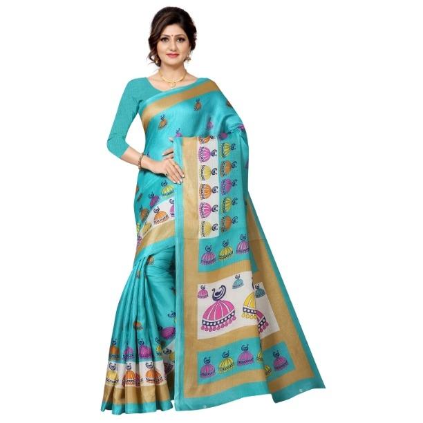 Attractive Sky Khadi Cotton Printed Regular Saree