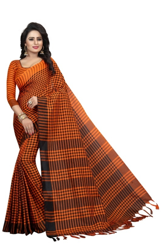 Women's Black & Orange  Cotton Silk Saree With Blouse Piece