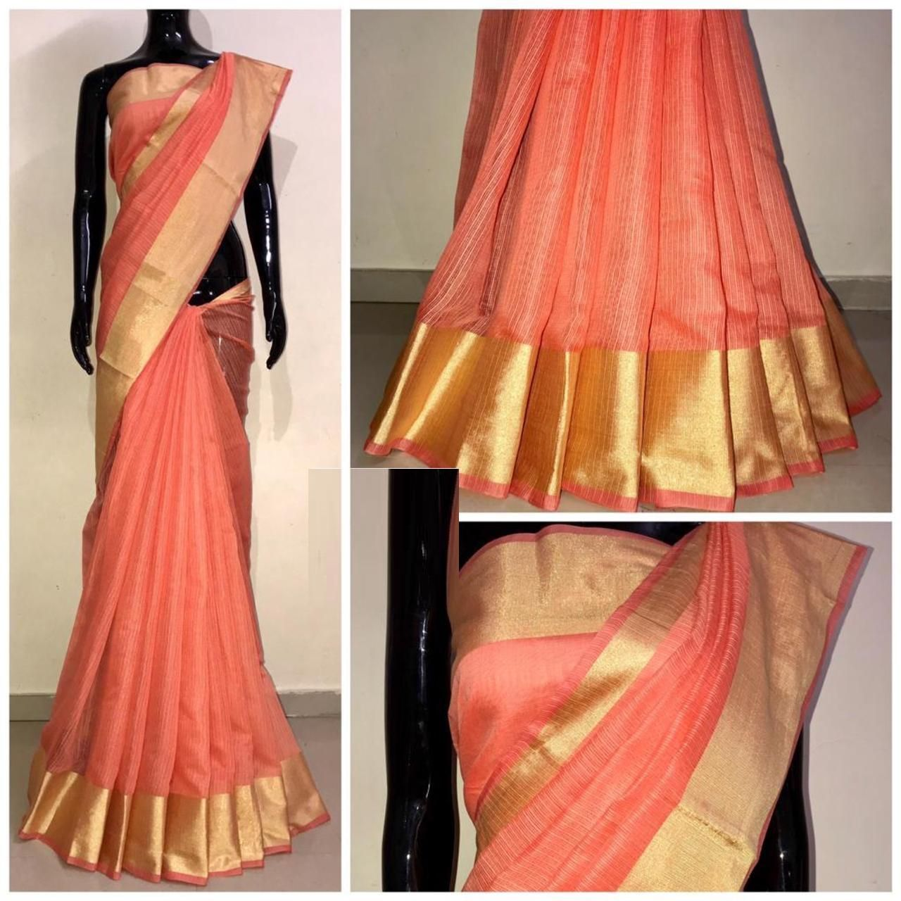 Chanderi Orange Satin Silk Printed Regular Saree