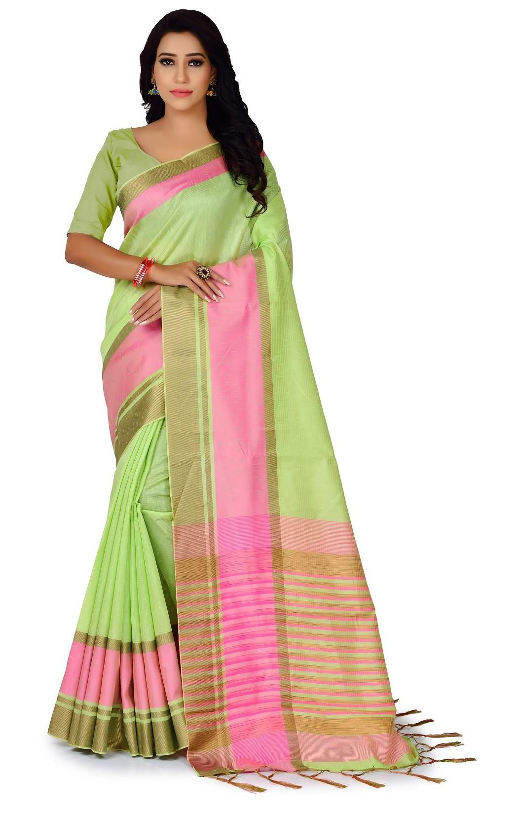 Lady's Trendy Polyester Cotton Solid With Border Regular Parrot Saree
