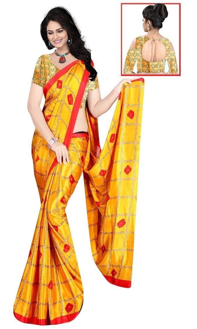 Glamorous Yellow Silk Checks Print Saree