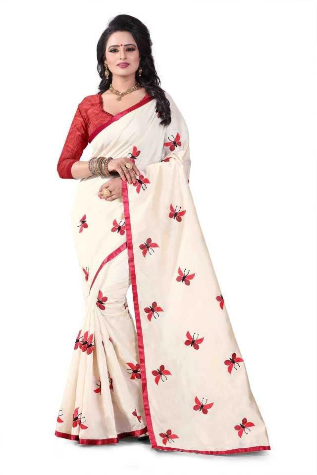 Pretty Red Flower Silk Printed Regular Saree