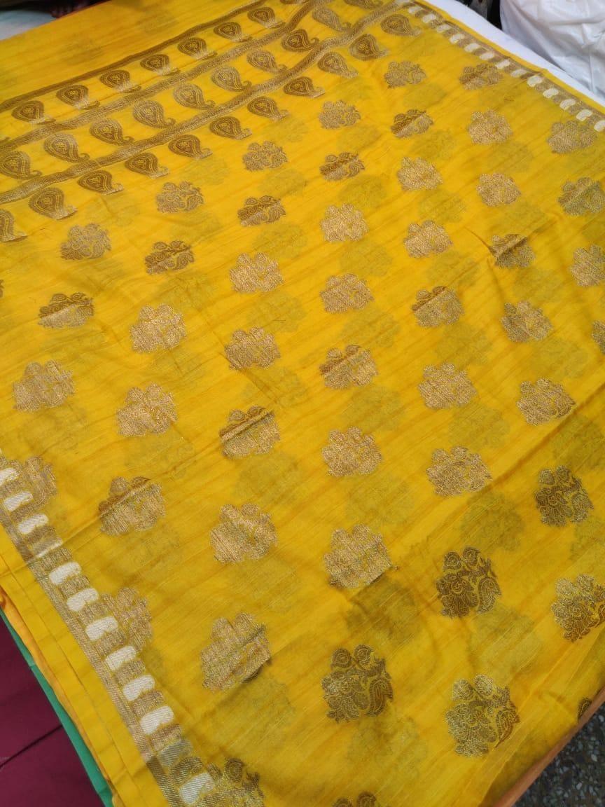 Women's Unique Yellow Banarasi Cotton Zari Print Saree