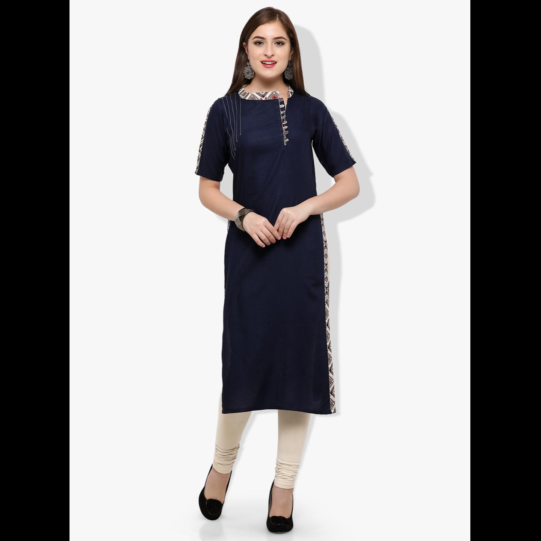 Women's Rayon & Cotton Navy Blue 3/4 Sleeve Kurti