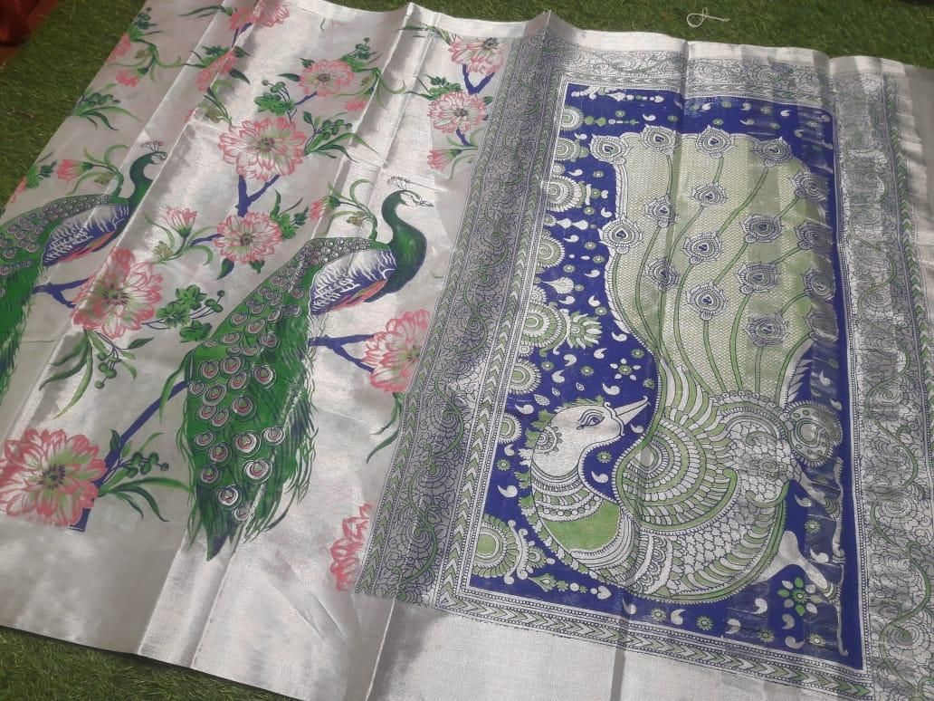 Premium Small Peacock Design Cotton Printed Regular Sare