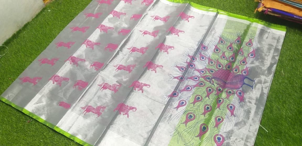 Premium Pink Desgin Cotton Printed Regular Sare