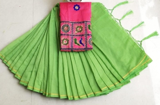 Lady's Trendy Parrot Chanderi Cotton Solid Saree With Blouse Piece