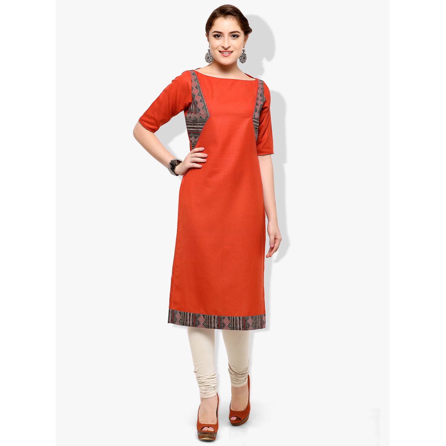 Women's Rayon & Cotton Rust Color 3/4 Sleeve Kurti