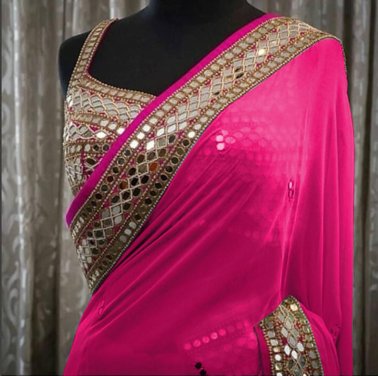 Georgette  Saree with Lace And Real Glass Mirror Work