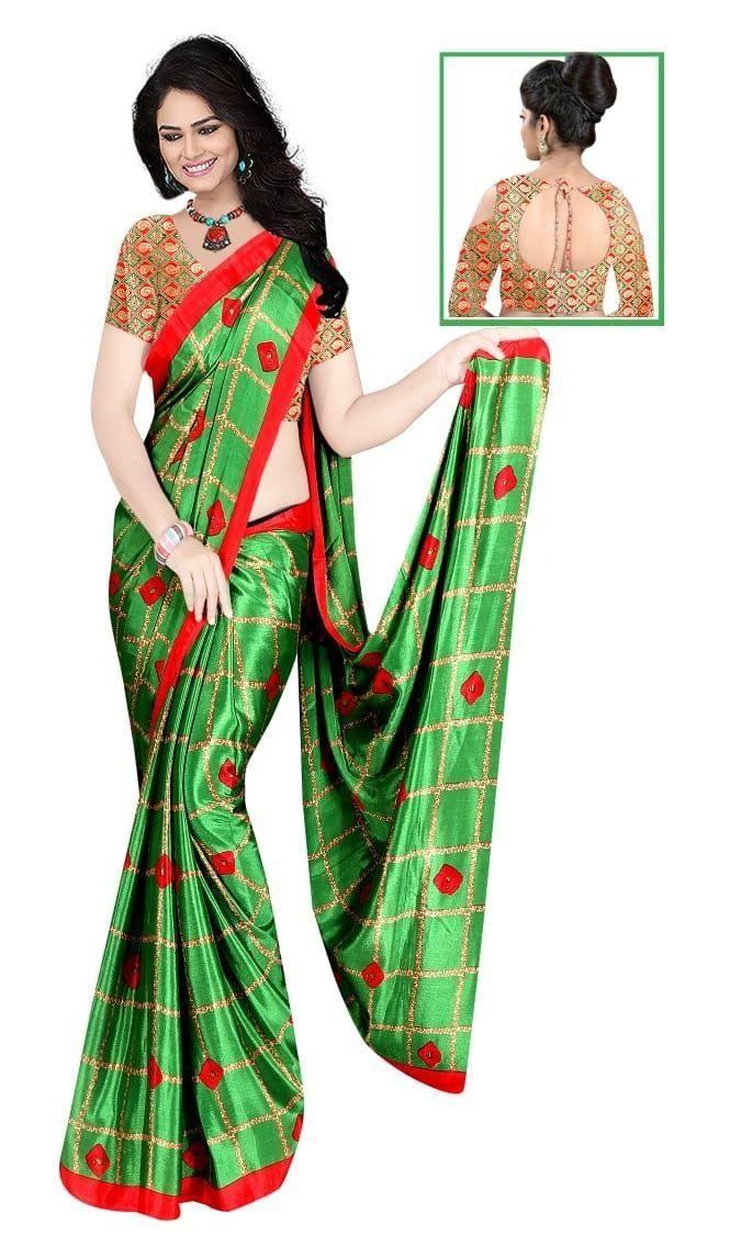 Glamorous Parrot Silk Checks Print Saree
