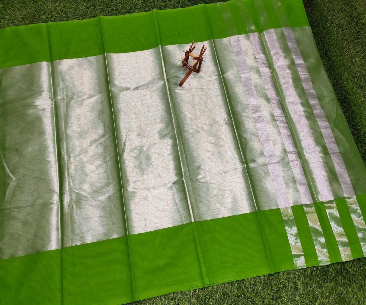 Women's Posh Tissue Popati  Cotton Solid Regular Saree