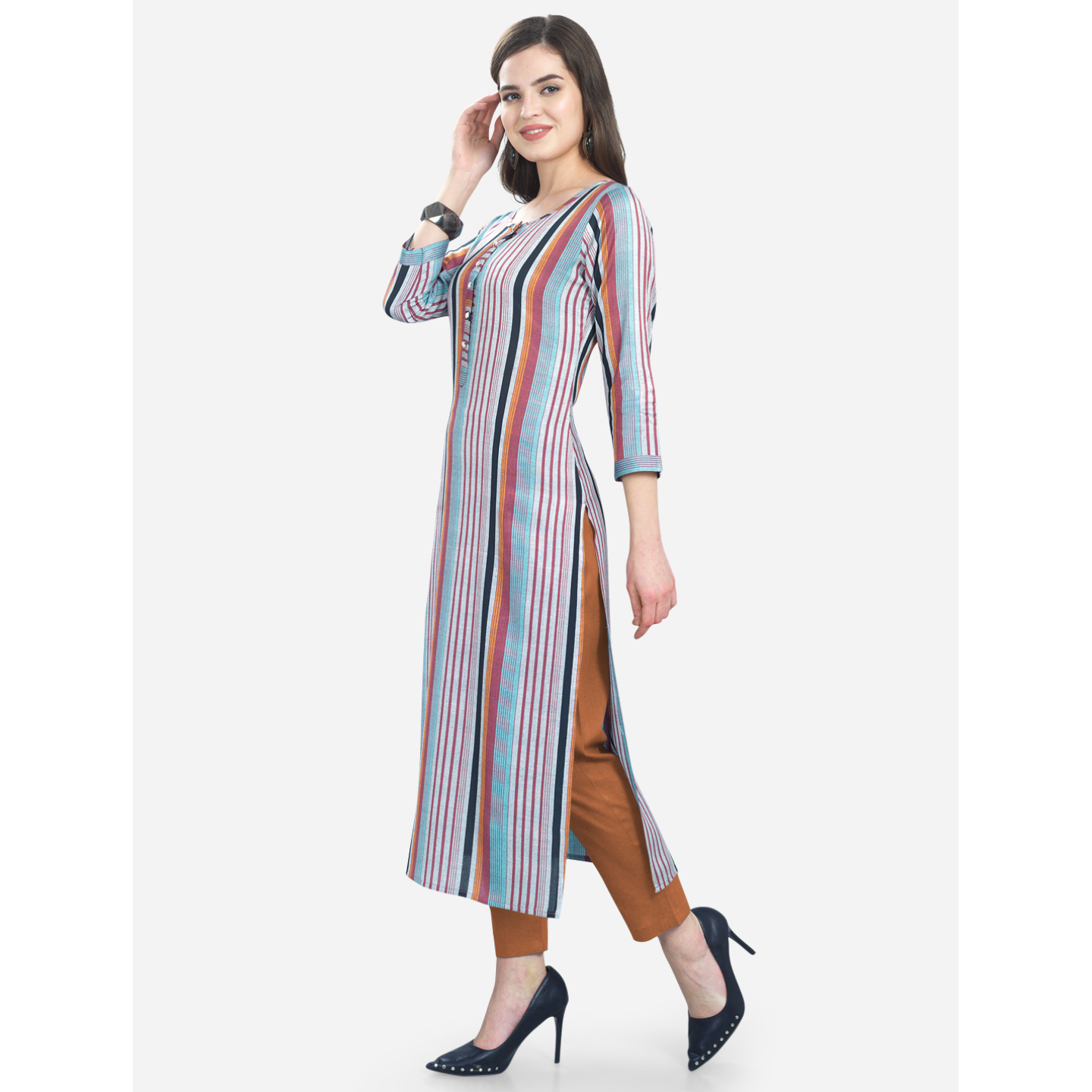 New Women's Multi-colored Cotton Kurti