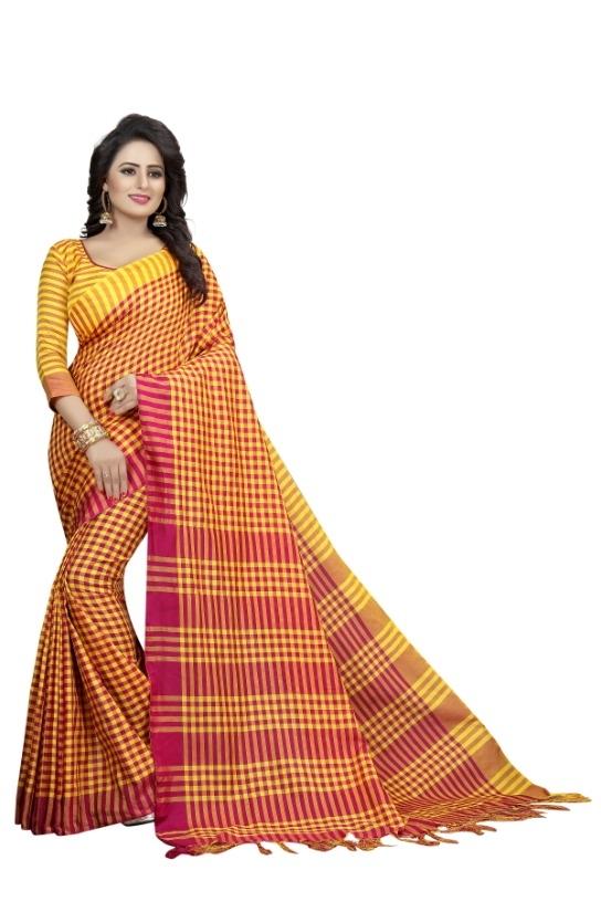 Women's Yellow & Orange Cotton Silk Saree With Blouse Piece