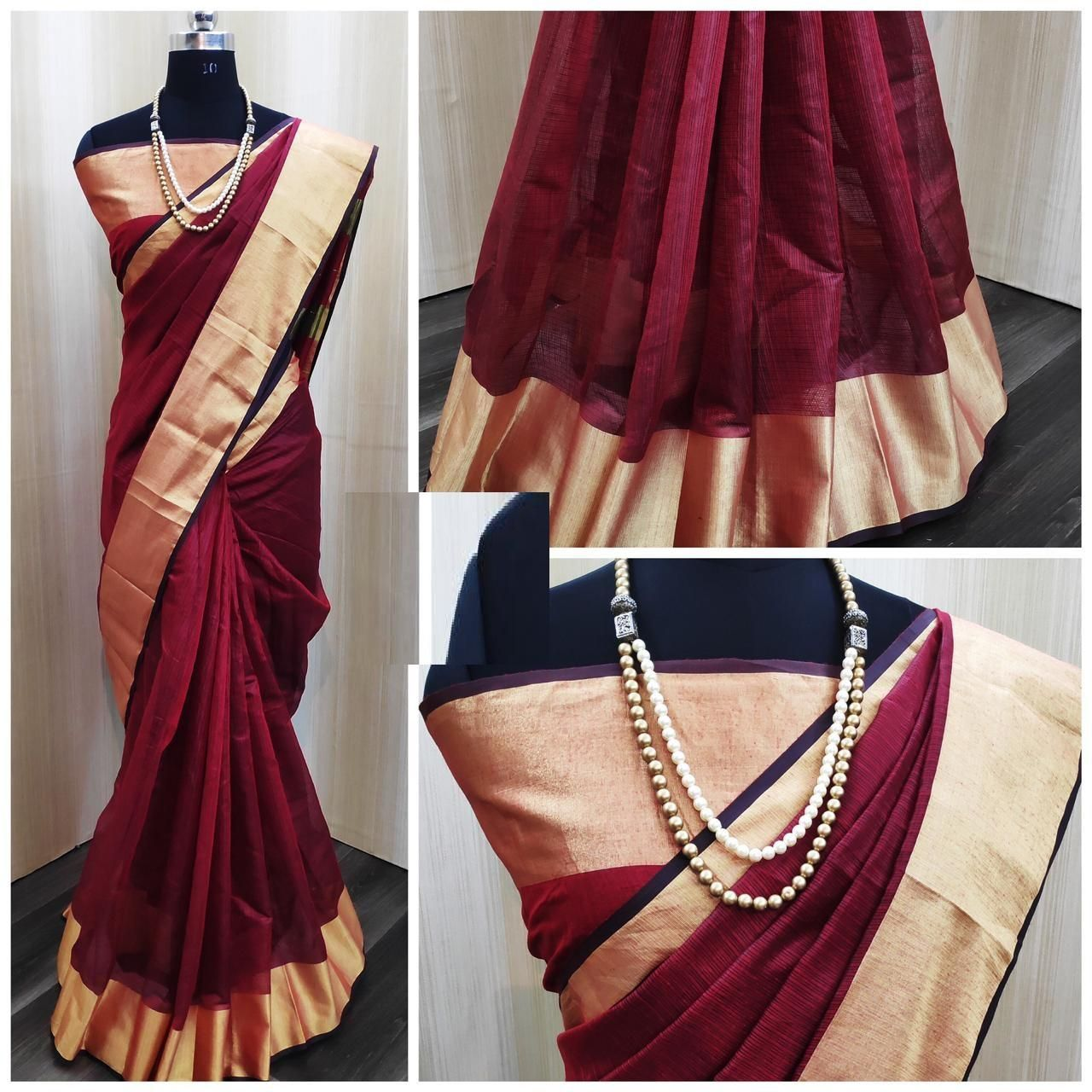 Chanderi Maroon Satin Silk Printed Regular Saree