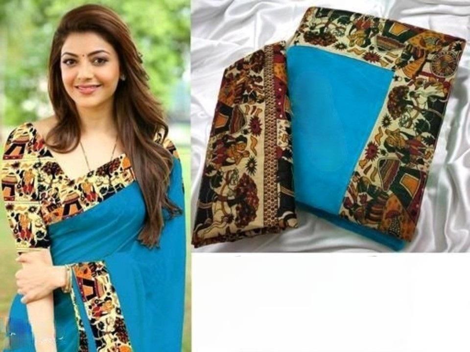 Women's Pretty Sky Chanderi Cotton Solid With Border Saree