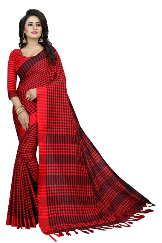 Women's Red & Black Cotton Silk Saree With Blouse Piece