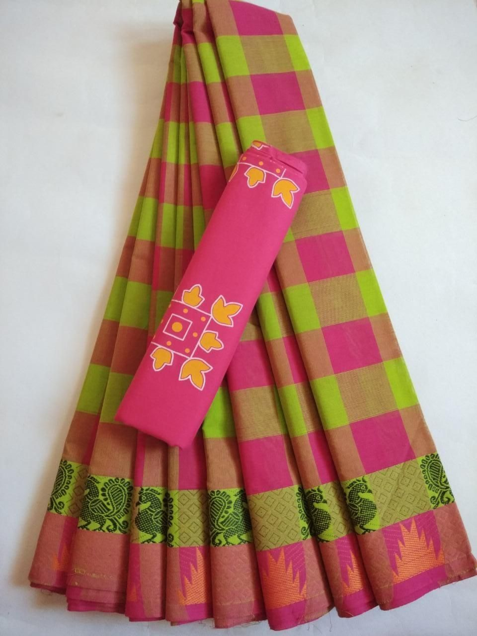 Affordable Cotton Pink Checks With Woven Border Saree
