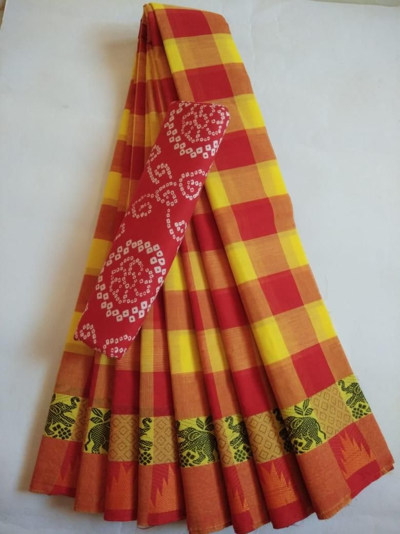 Affordable Cotton Red Checks With Woven Border Saree