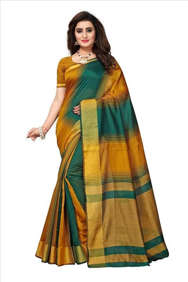 Adorable Mustard & Green Poly Cotton Strips Printed Regular Saree