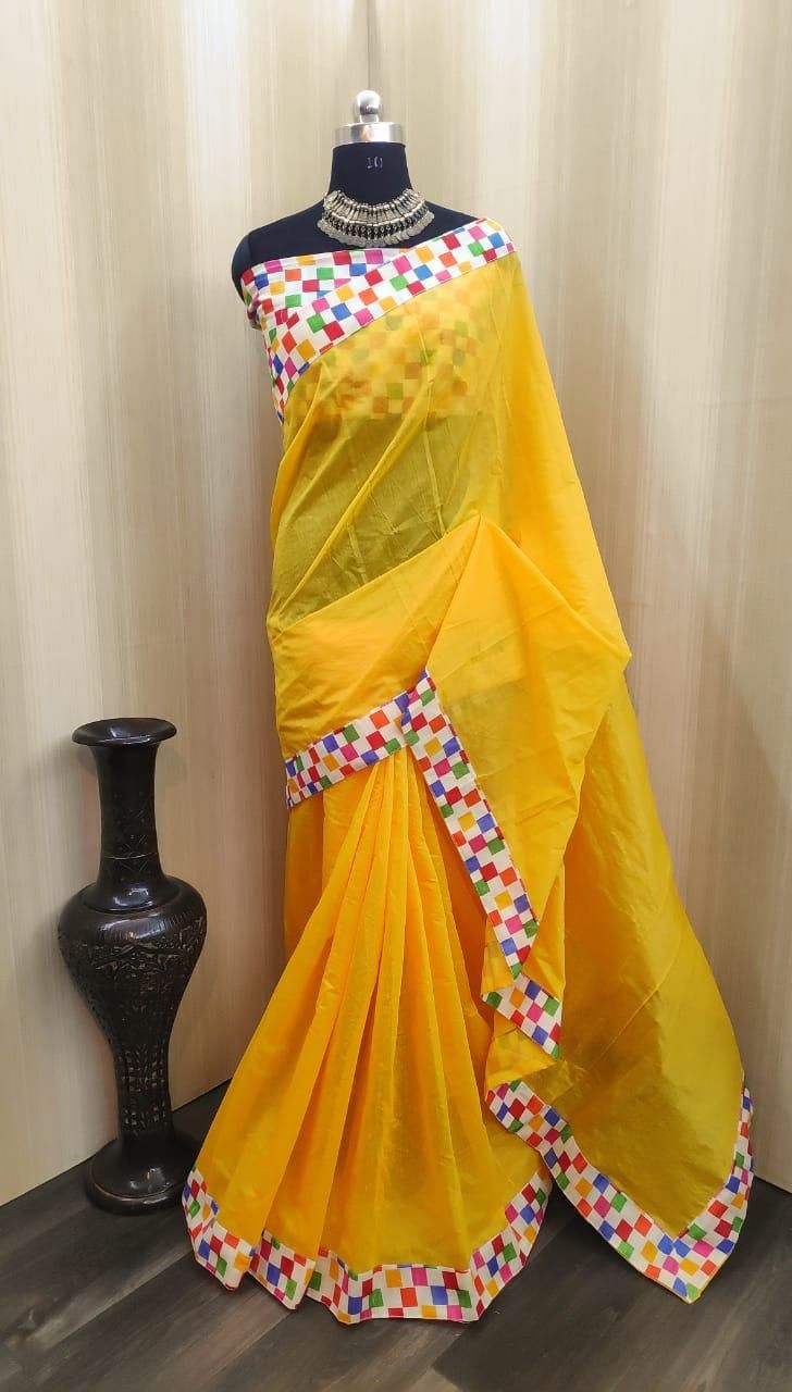 Lady's Special Yellow Chanderi Cotton Solid With Border Saree