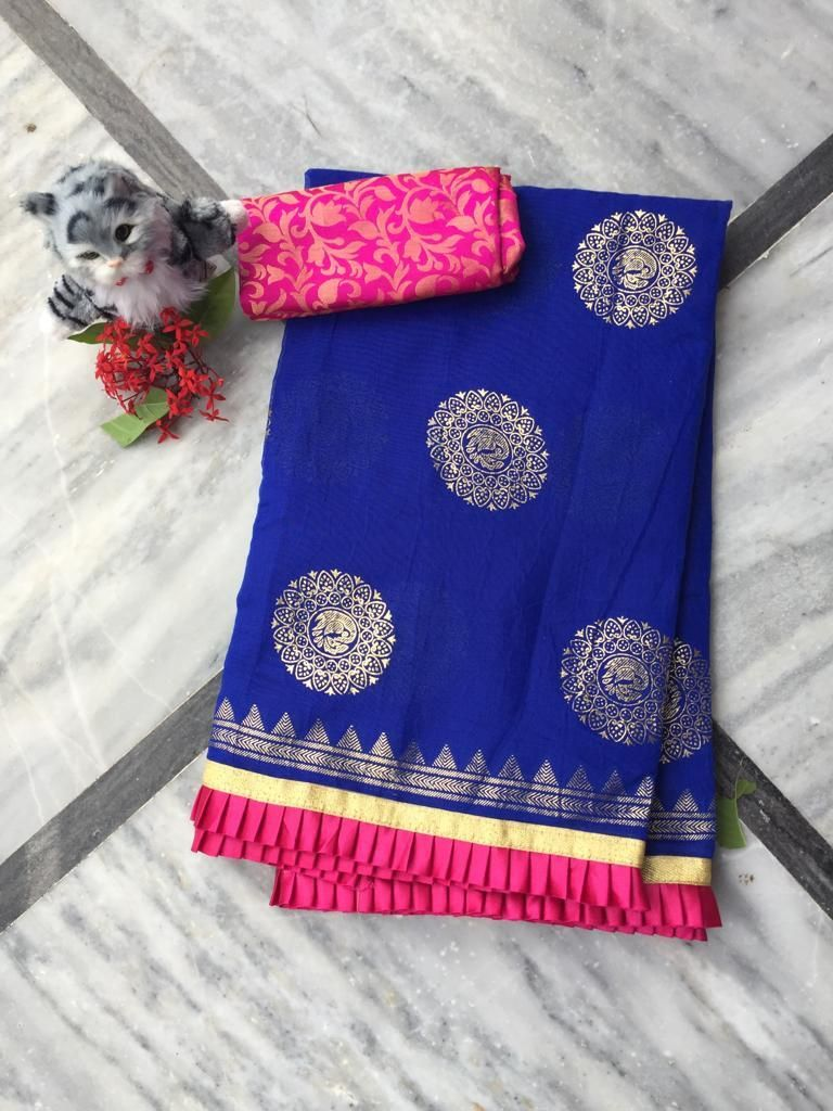 Adorable Blue Chanderi Cotton Jacquard Work With Contrast Colour Pleated Border Regular Sarees