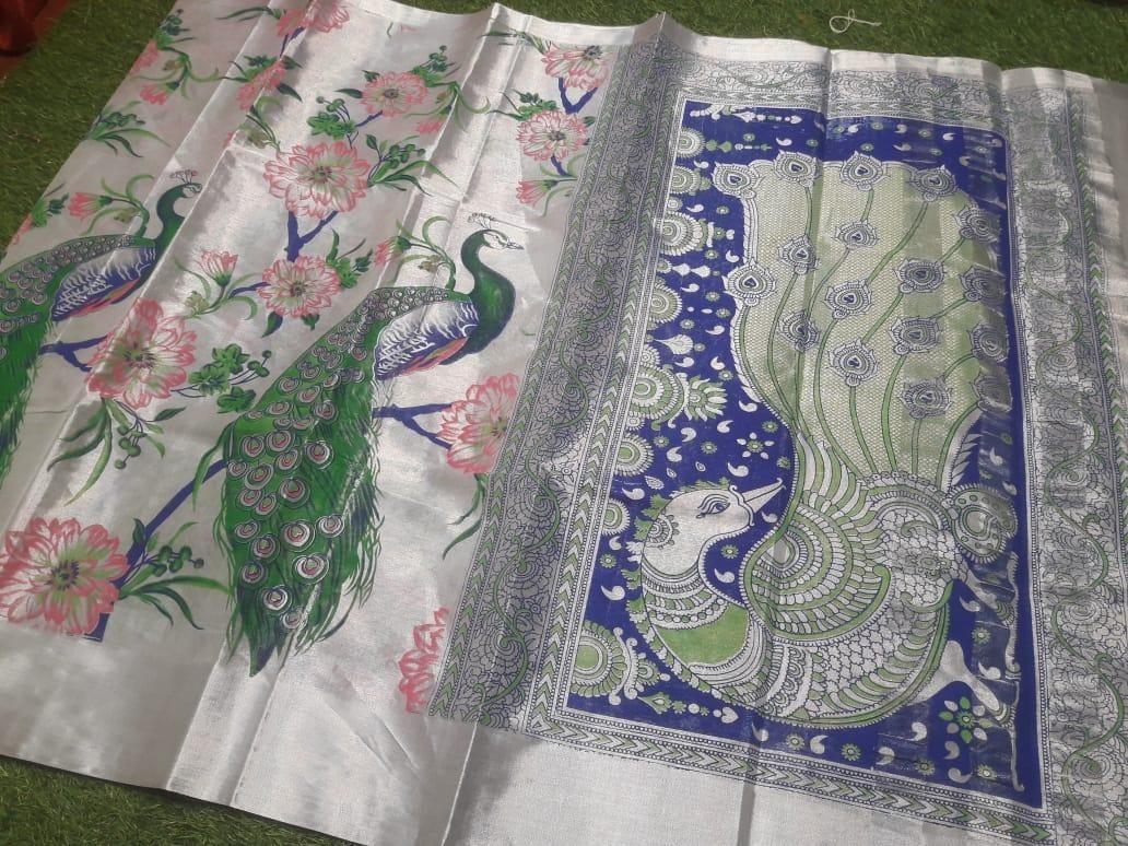 Premium Peacock Design  Cotton Printed Regular Sare