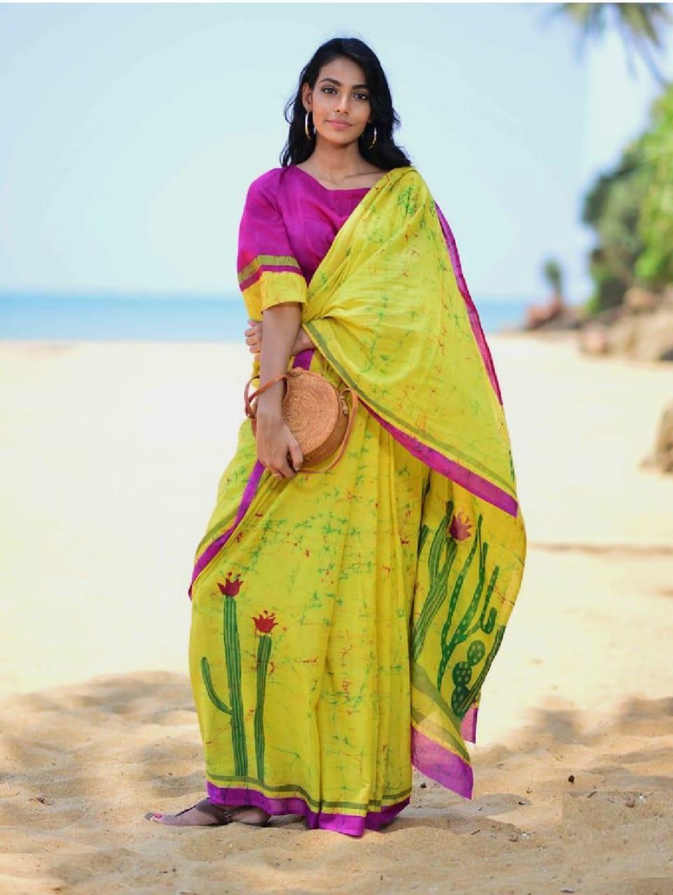 Simple Yellow With Pink Border Mulmul Cotton Printed Regular Saree