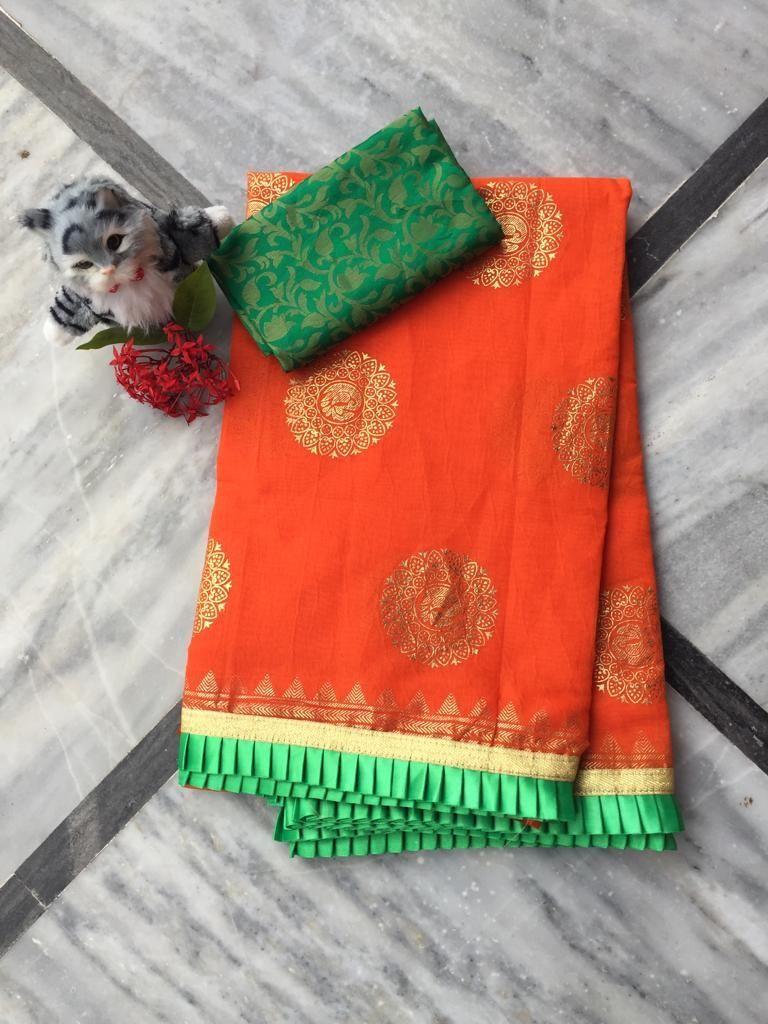 Adorable Orange Chanderi Cotton Jacquard Work With Contrast Colour Pleated Border Regular Sarees