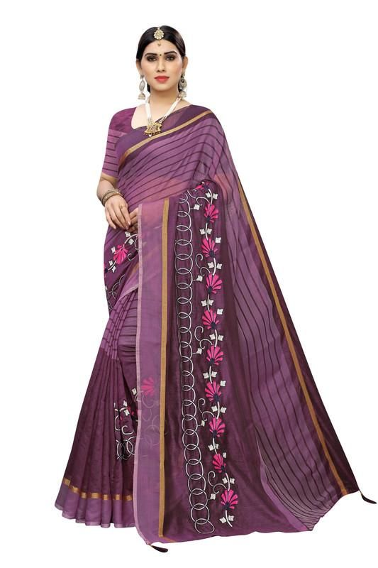 Women's Special ParpalCotton Embroidery Work Saree