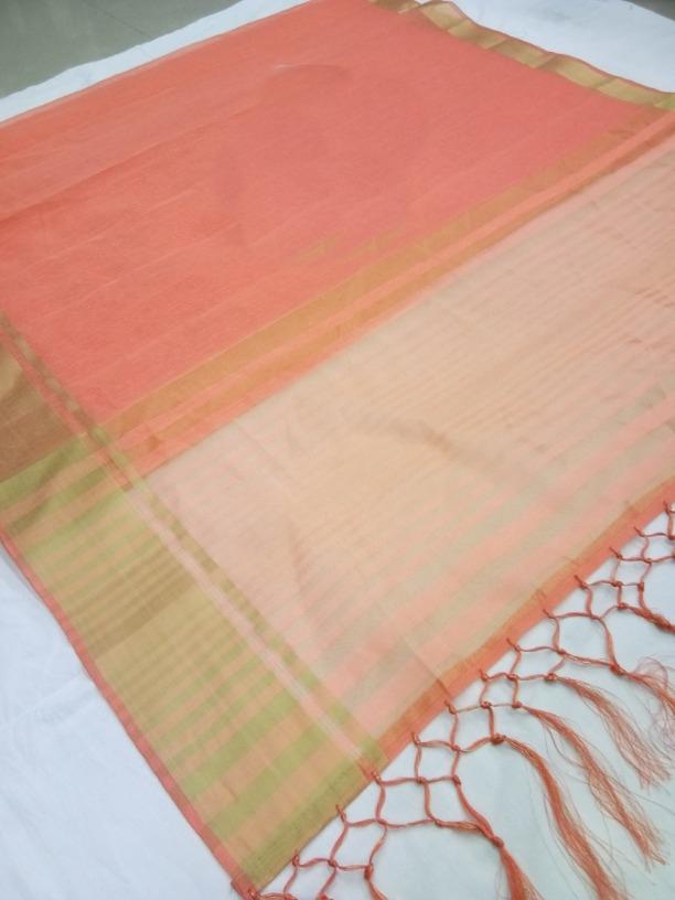 Lady Regular Pretty Light Orange Cotton Silk Woven Saree