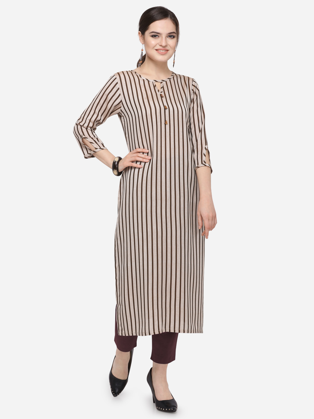 Striped Printed South Cotton Straight Kurti