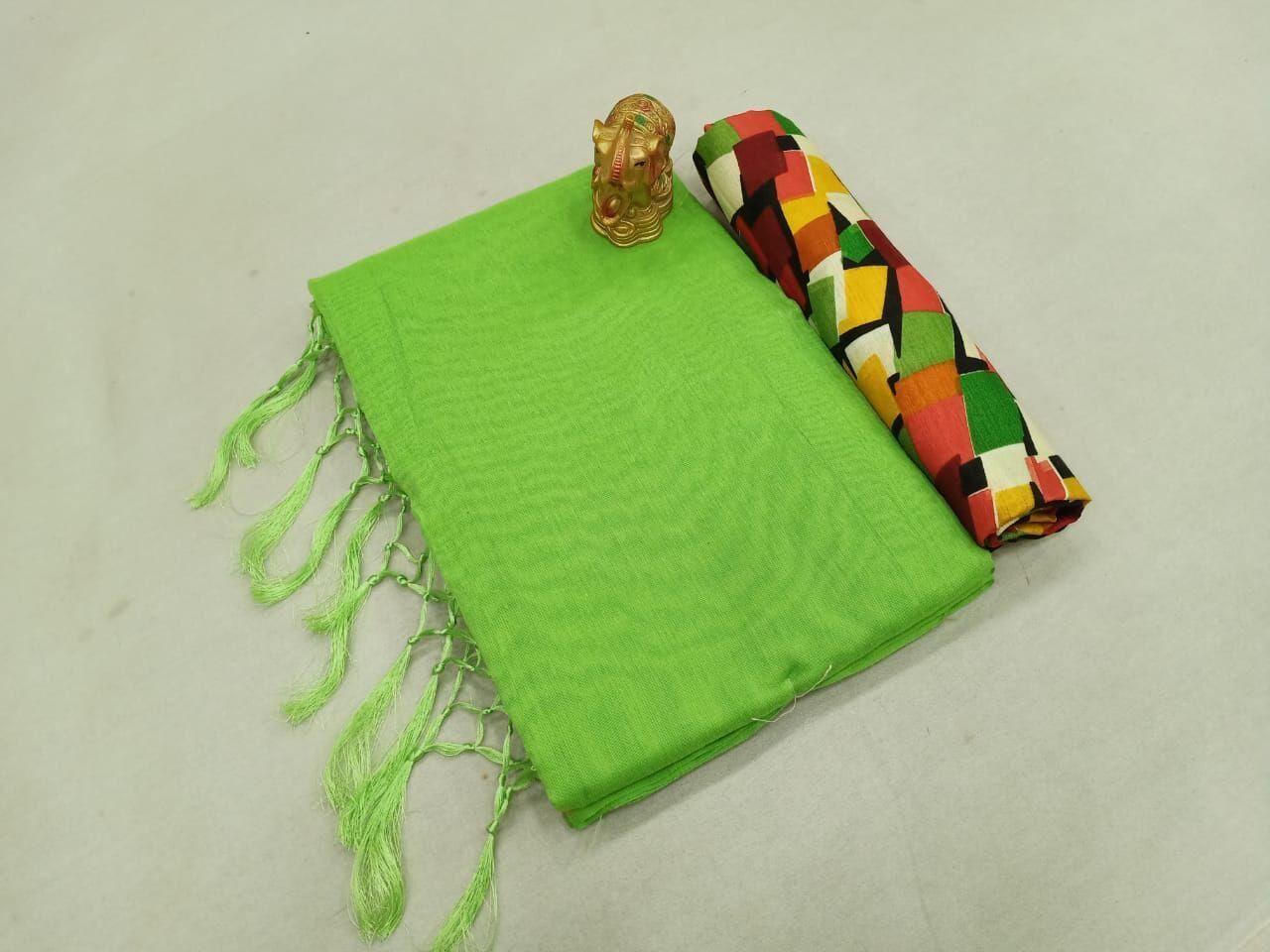Fabulous Chanderi Cotton Solid With Jhalar Regular Green Saree