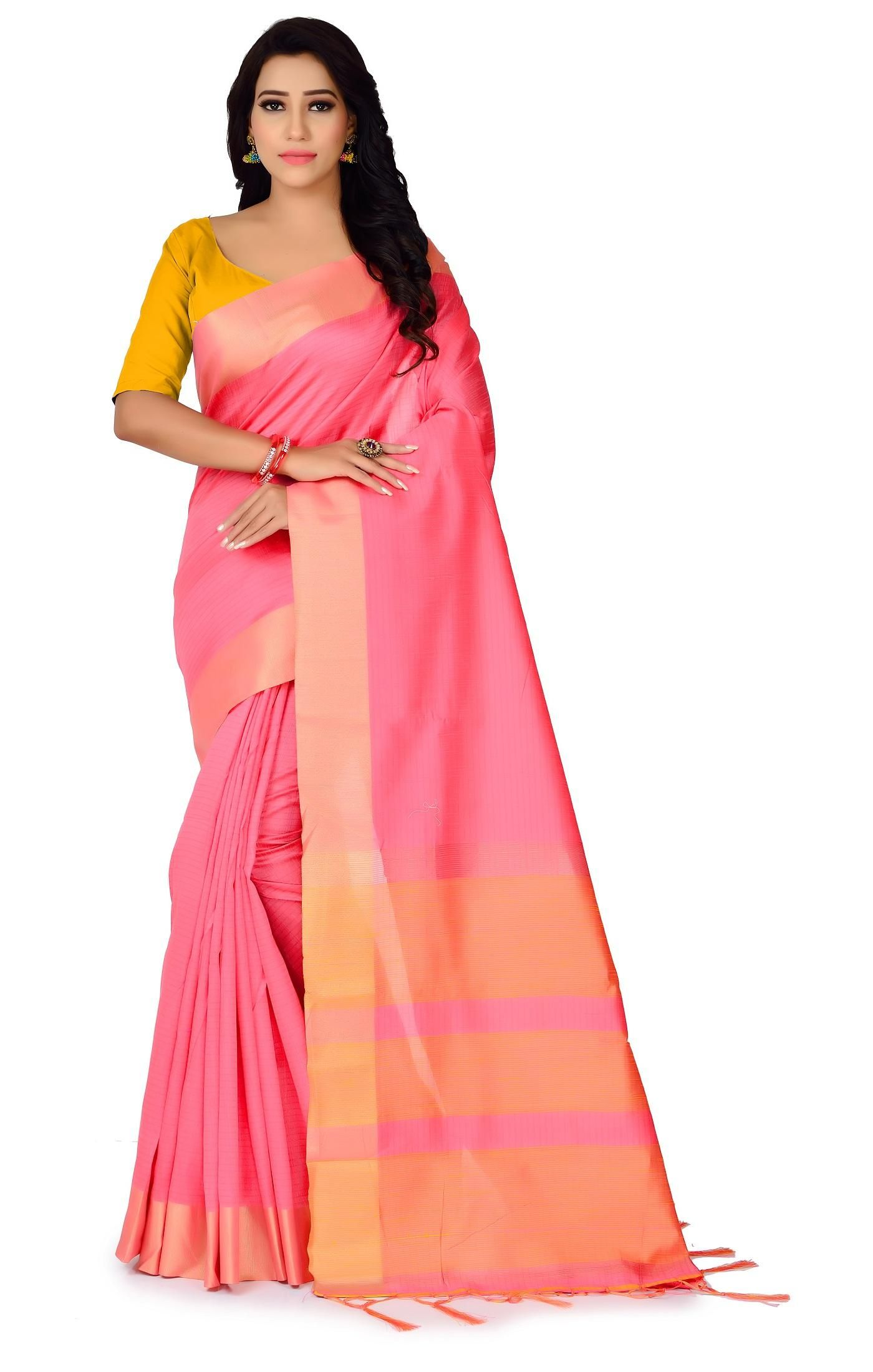 Women's Ethnic Polyester Cotton Solid With Border Regular Pink Saree