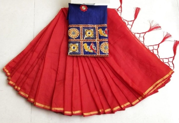 Lady's Trendy Red Chanderi Cotton Solid Saree With Blouse Piece