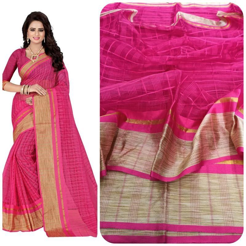 Fabulous Pink Poly Cotton Weaving Saree