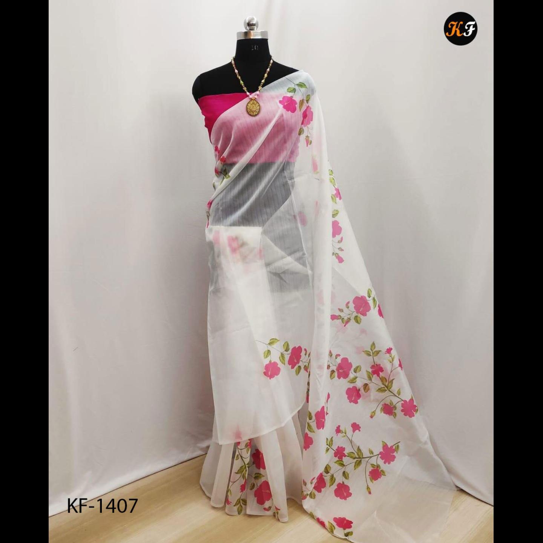 Heavy Organza Saree With Silk Blouse Piece
