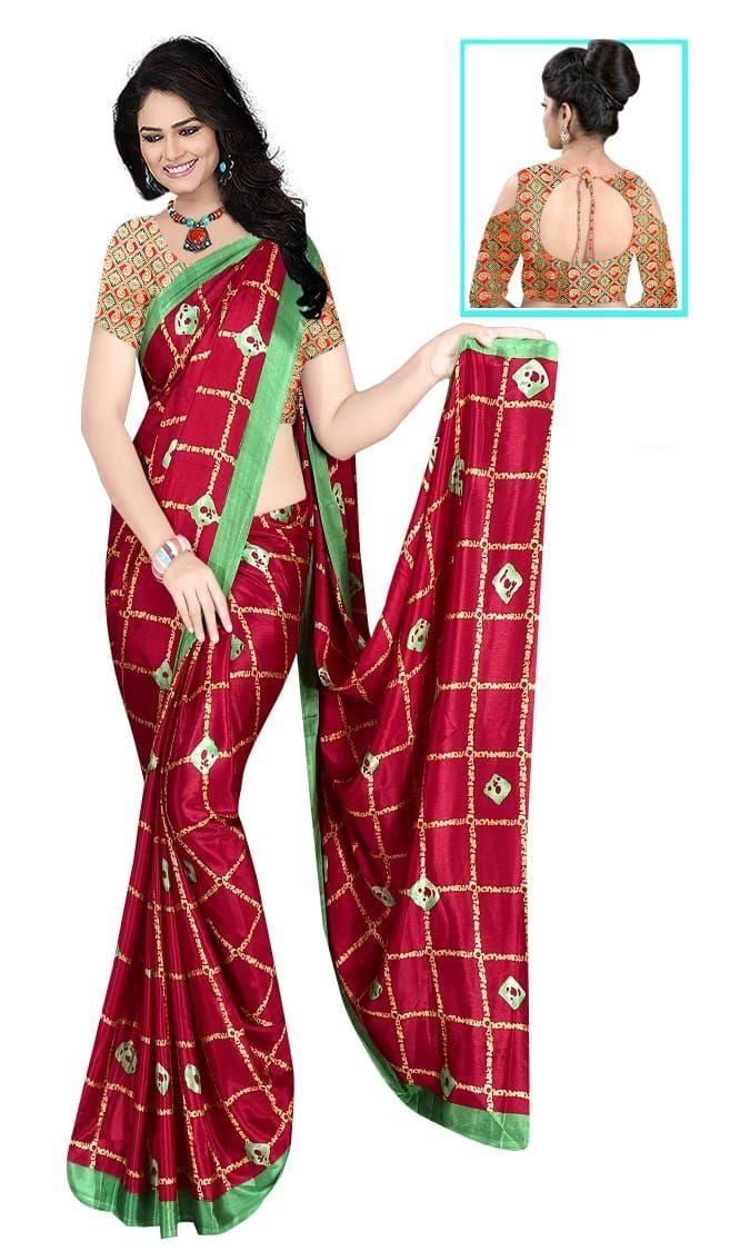 Glamorous Maroon Silk Checks Print Saree
